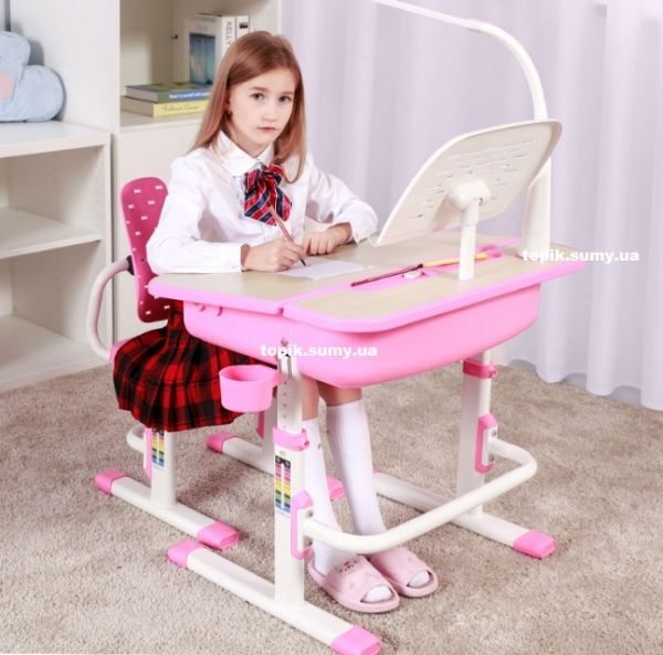 Комплект Evo-kids (стул+стол+полка+лампа) Evo-03 PN с лампой